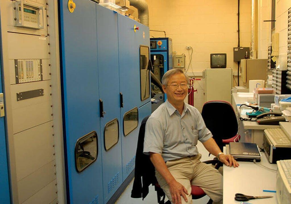 Prof. Wang Nan Wang in his lab