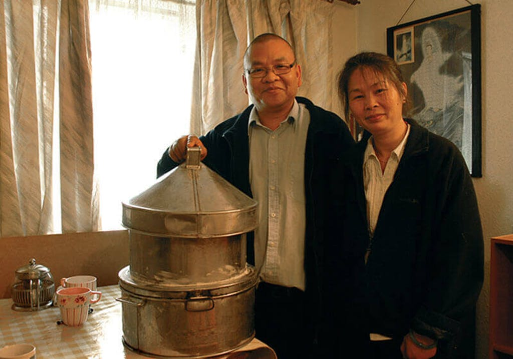 Chinese traditional steamer bought over by Mr Chan when he moved to the UK.