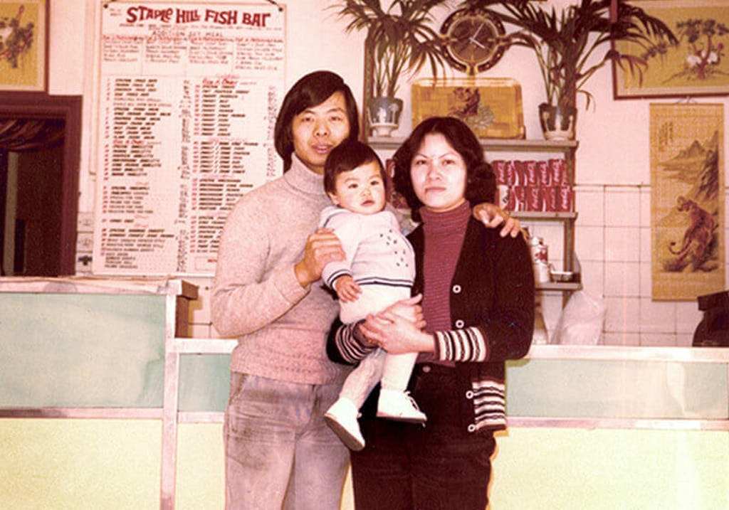 Mr and Mrs Liu in their first takeaway restaurant, Bristol, 1980