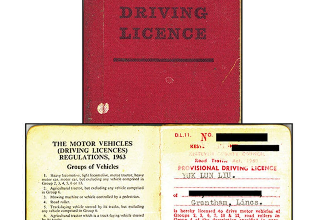 Mr. Liu's first UK driving licence, 1968