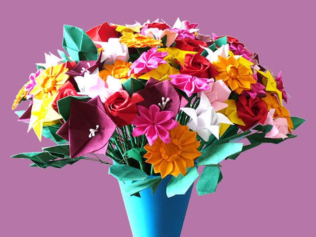 Origami flower bouquet