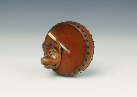 Drum and fox's mask netsuke. Japan, 19th century